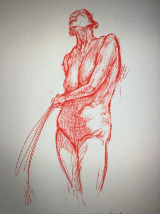 LA1-41A Woman with towel red chalk - Edgar Pillinger