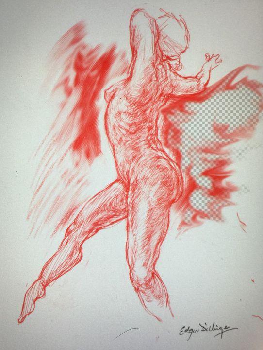 LA1 -40 Woman in red chalk series - Edgar Pillinger