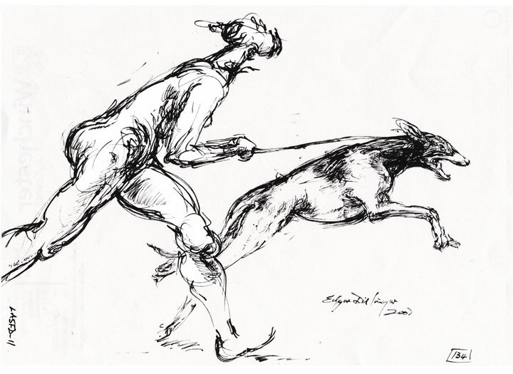 Woman with dog LA5FD-11 - Edgar Pillinger