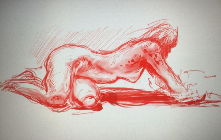 LA1-42 Woman on beach in red chalk - Edgar Pillinger