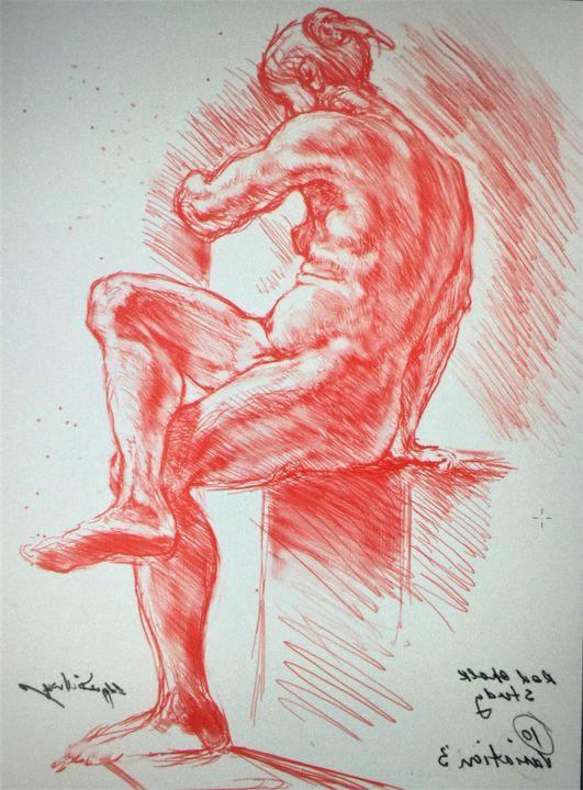 LA7-239 Woman in red chalk - Edgar Pillinger