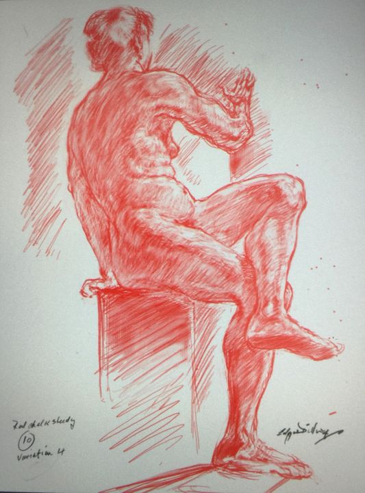 LA7-243 Seated woman in red chalk - Edgar Pillinger