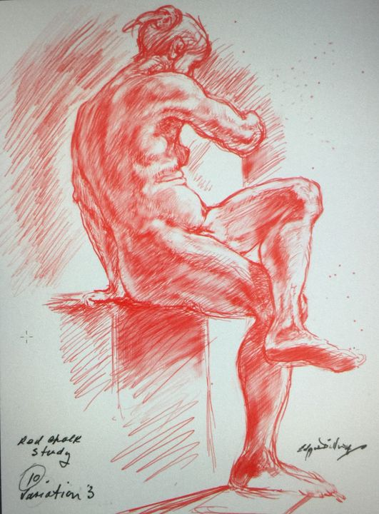 LA7-242A Seated woman in red chalk - Edgar Pillinger