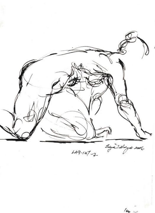 Woman crawling on floor LA9-147-2 - Edgar Pillinger