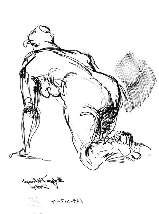 Woman crawling on floor LA9-147-4R - Edgar Pillinger