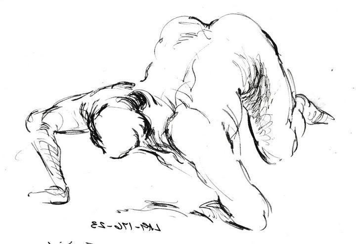 Woan falling on bed LA9-176 - Edgar Pillinger