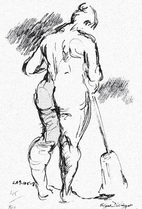 Woman sweeping floor LA9-105-8 - Edgar Pillinger