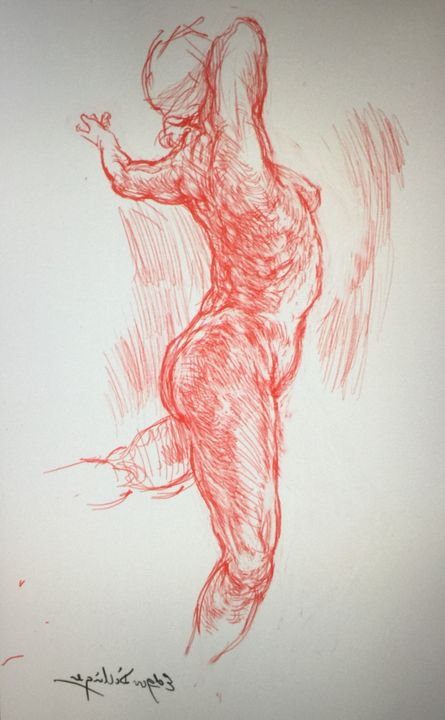 LA7-258 Woman in red chalk series - Edgar Pillinger