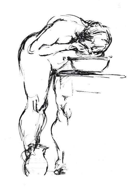 Woman washing face LA9-137-1 - Edgar Pillinger