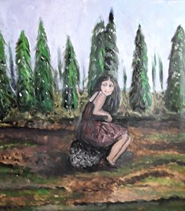Girl alone in the Forest
