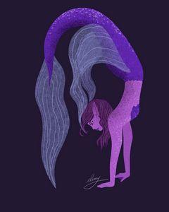 Purple Mermaid (purple background)