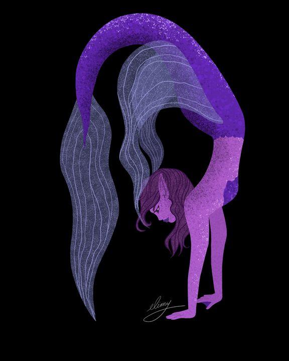 Purple Mermaid (black background) - elimy