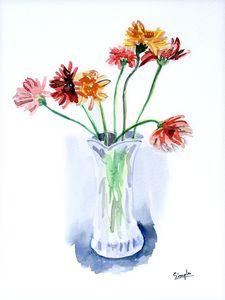 Zarbera flowers in vase