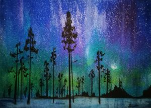 Northern Lights in the forest