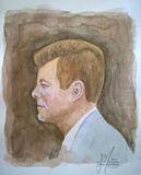 Original watercolor painting - JFK