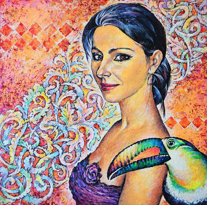 Woman and Toucan - Vitaly Zasedko