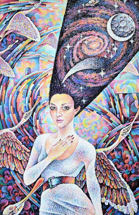 Girl and Pink Birds - Vitaly Zasedko