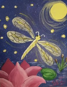dragonfly with lotus - Prints for Kids