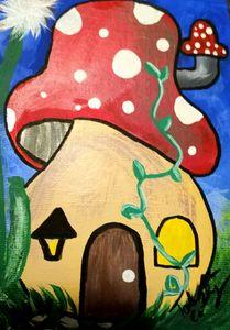 mushroom house - Prints for Kids