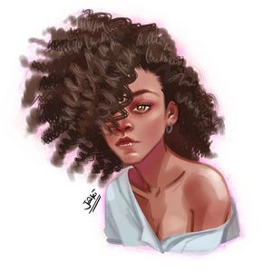 A girl with a curly hair
