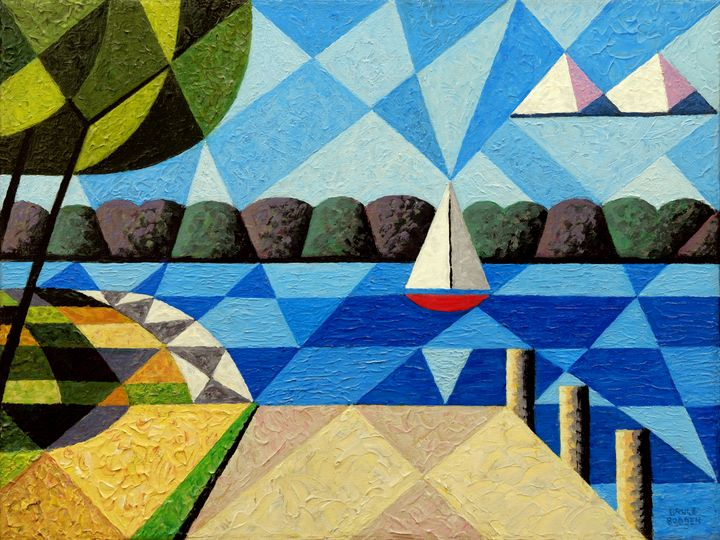 Sailboat At Kimberly Point-Abstract - Bruce Bodden