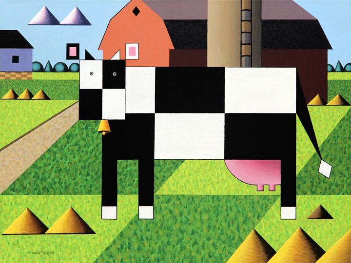 Cow  Squared With Barn - Bruce Bodden