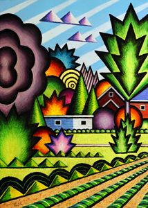 Where The Bus Comes From-Oil Pastel - Bruce Bodden