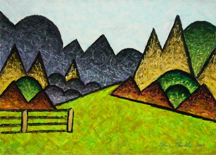 Abstract Landscape With Fence - Bruce Bodden