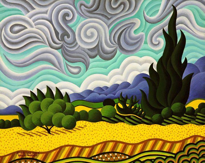 After Van Gogh-Wheat Fields+Cypress - Bruce Bodden