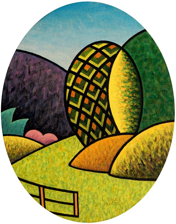 Oval Landscape With Fence - Bruce Bodden