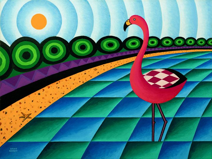 Flamingo In Lagoon - Bruce Bodden