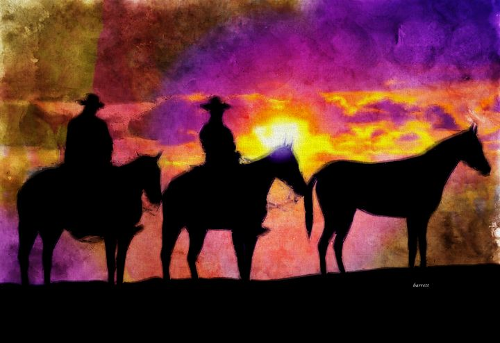Two Cowboys at Dawn - The Art of Don Barrett