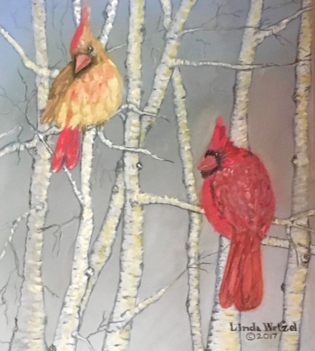 Cardinals in Winter - Linda Wetzel Fine Art