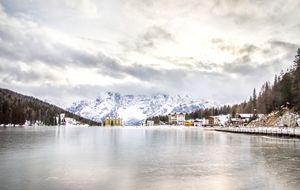 Misurina Lake frozen trentino veneto