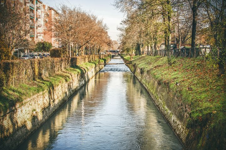 suburb river canal canvas Bologna - FineArt Italia