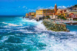rough sea waves Genoa Nervi Italy