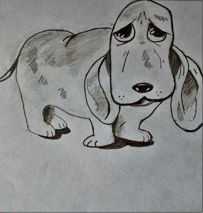 Sad Hound Dog - RedBirds Art