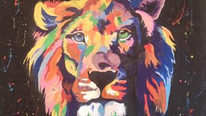 Colourful lion