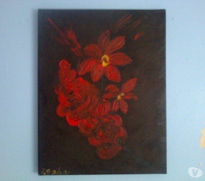 Signed Floral Oil On Canvas Painting - class of 73