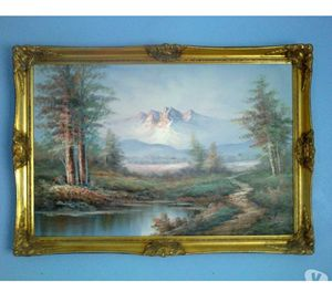 Large Framed Landscape Oil On Canvas