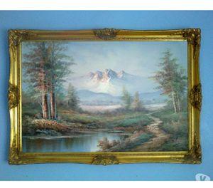 Large Framed Landscape Oil On Canvas