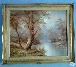 Lake Landscape Oil On Canvas