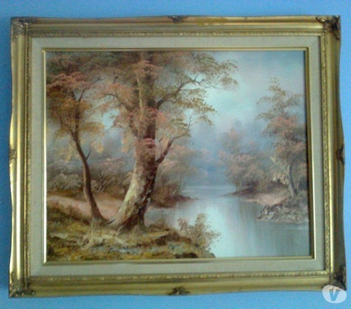 Lake Landscape Oil On Canvas - class of 73