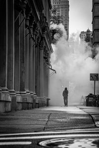 Walking through the steam in NYC