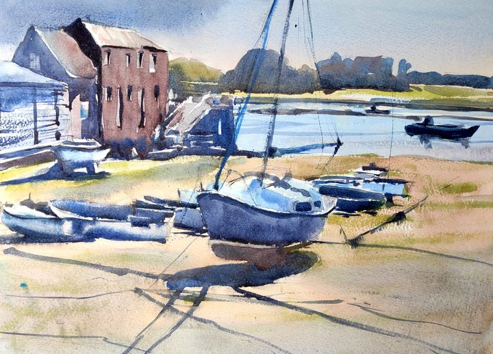 Sunset at Dell Quay - Ibolya Taligas Watercolours