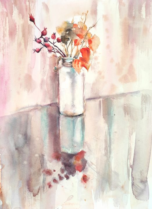 Dried flowers in a vase - Ibolya Taligas Watercolours