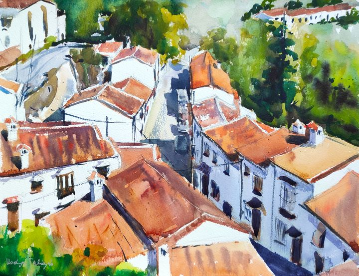 Red Roofs in Grazalema - Ibolya Taligas Watercolours