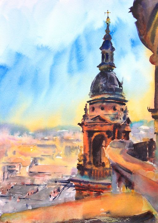 A view from St Stephen's Basilica in - Ibolya Taligas Watercolours