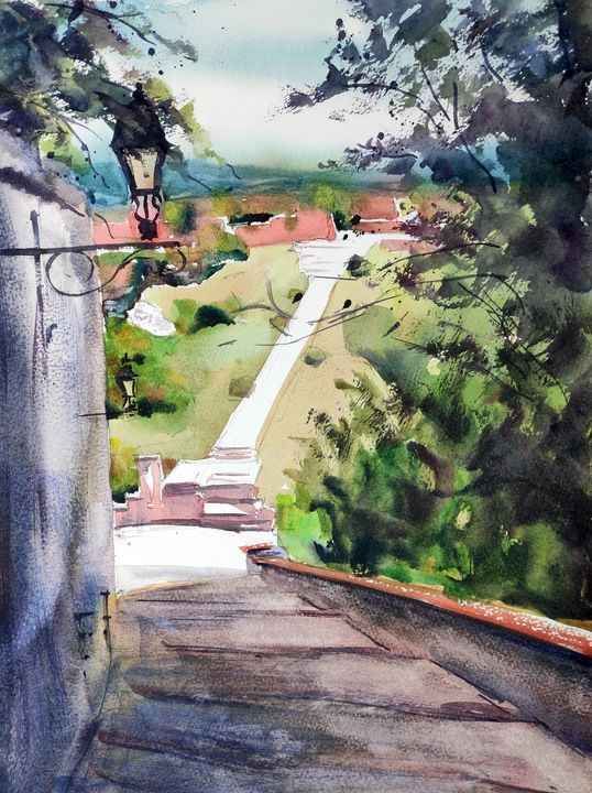 Castle Hill View - Ibolya Taligas Watercolours
