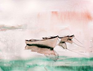 Misty seashore - Ibolya Taligas Watercolours